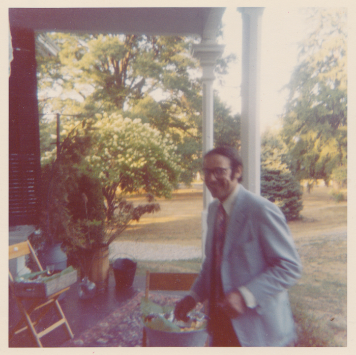 A photo of William J. Birnes, publisher emeritus of Shadow Lawn Press, on his side porch the day of his post-wedding party in October, 1980.